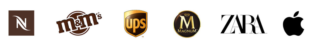 Logo Nespresso, M&M's, UPS, Magnum, Zara, Apple   These logos are in brown and black colors, and combination of these colors.
