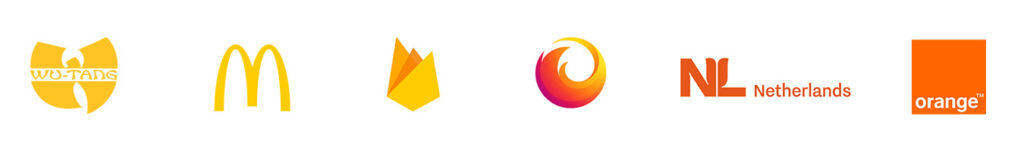 Logo Wu-Tang, McDonald's, Firefox, Netherlands, Orange  These logos are in yellow and orange colors, and combination of these colors.